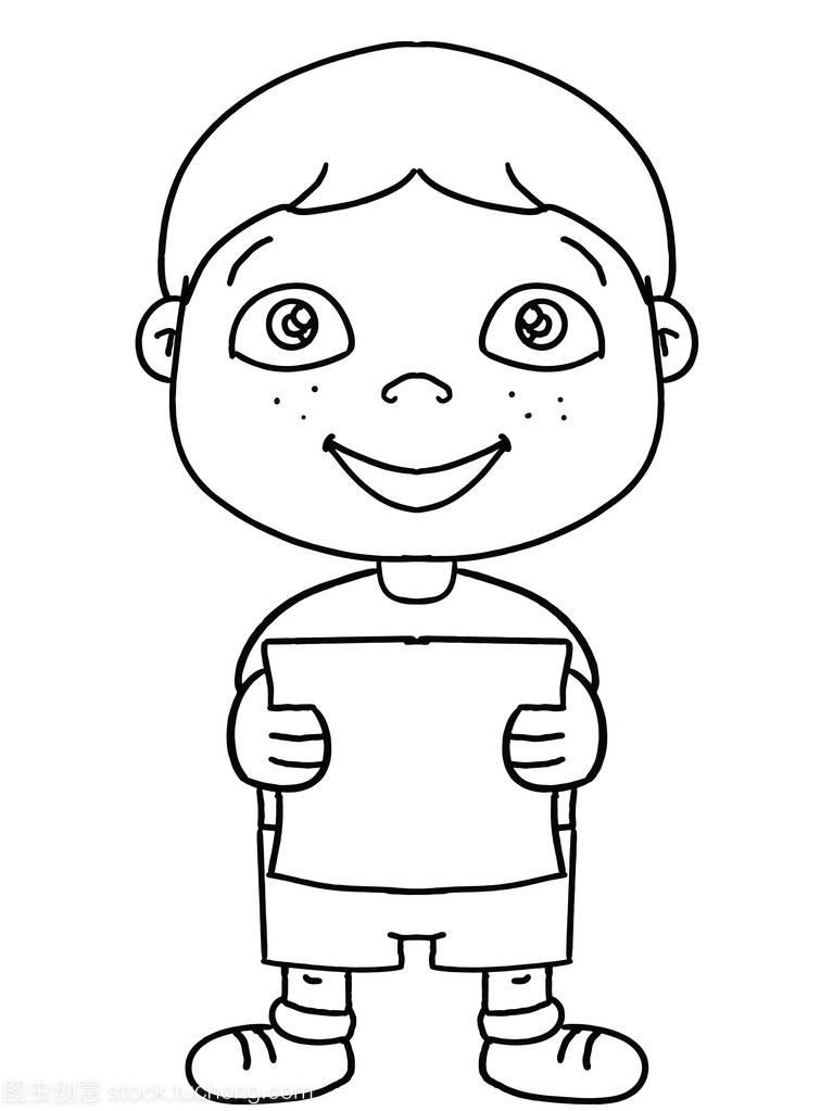 可爱的插画男孩儿童卡通画a插画短发男头图片