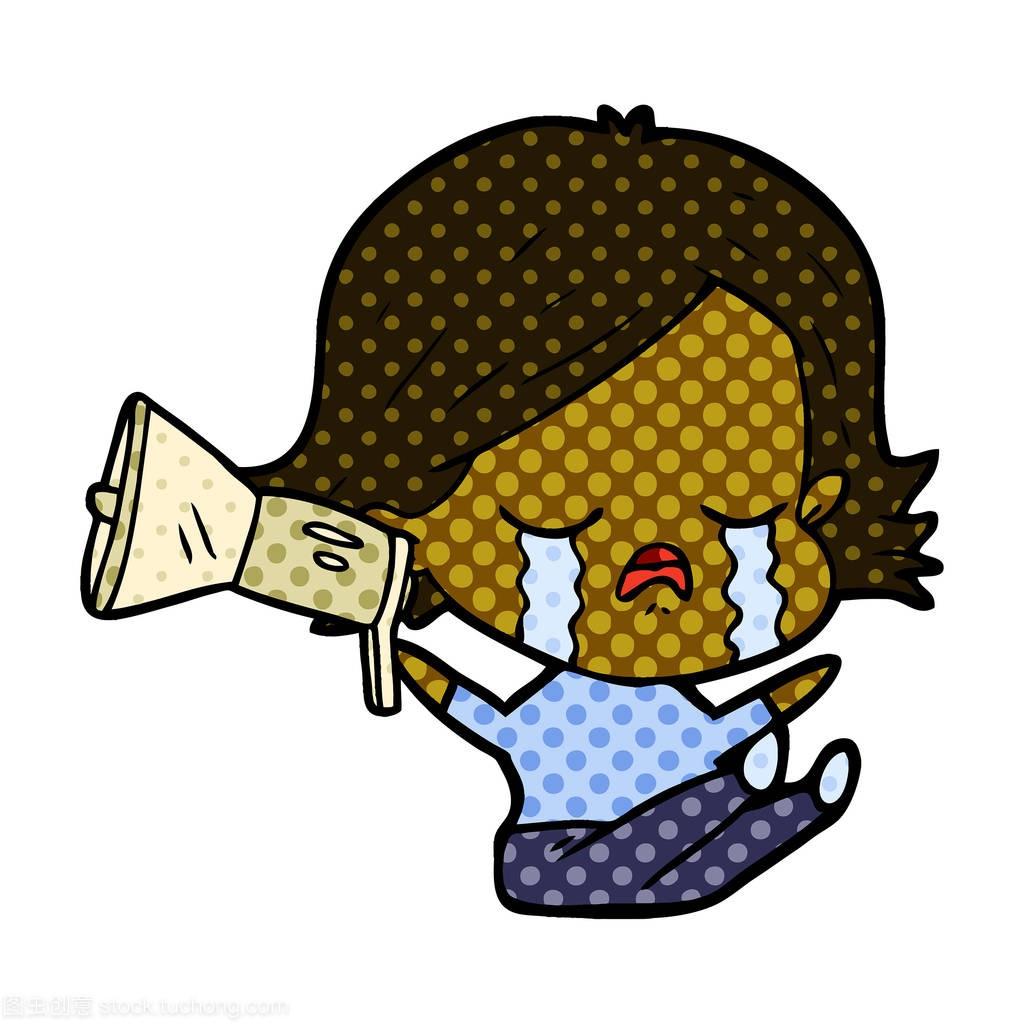 卡通女生哭扬声器是女孩样子的什么图片