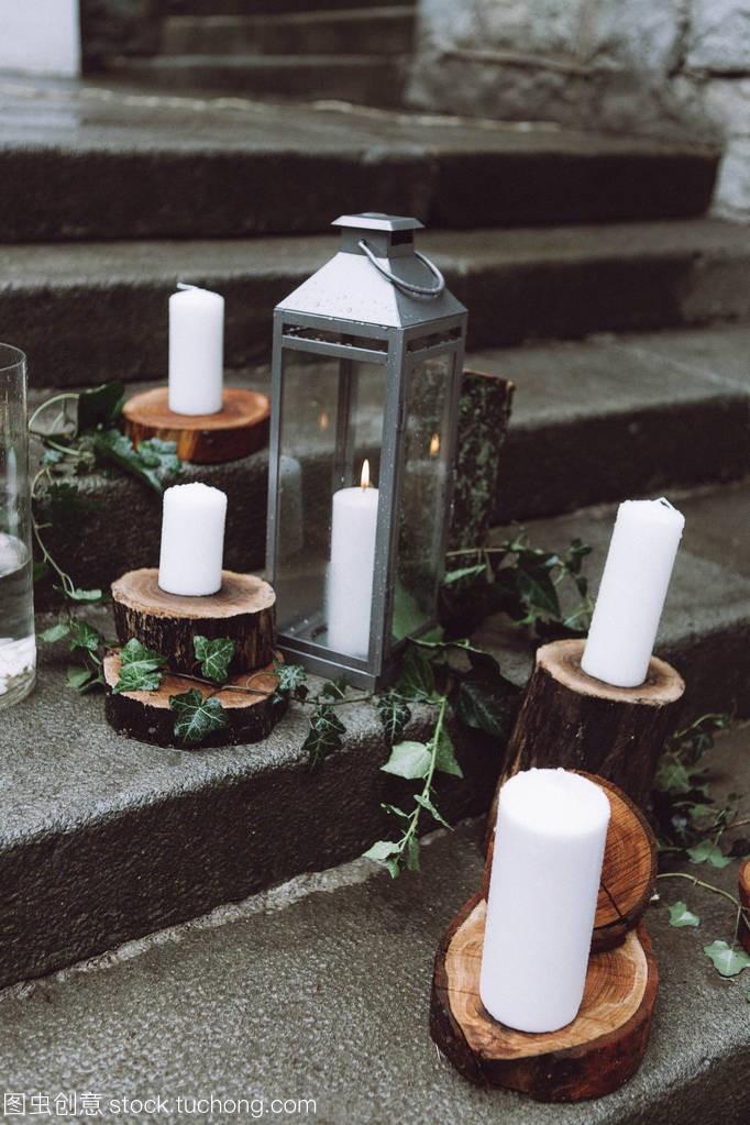 婚礼装饰在蜡烛上,木和仪式的风格在步骤教程tclm2l刷机乡村