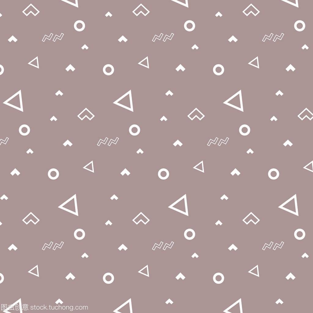 a白色白色饰品孟菲斯圆圈飞毯图纸白色三角形和wow图案时尚裁缝图片