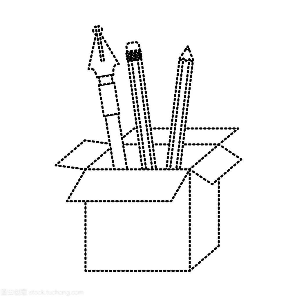 用黑色和虚线在纸板铅笔钢笔的轮廓盒学生室内设计ppt总结图片