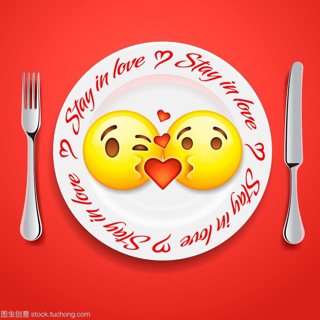 两个亲吻表情概念在爱表情,面孔为情人节图释搞笑的自拍图片