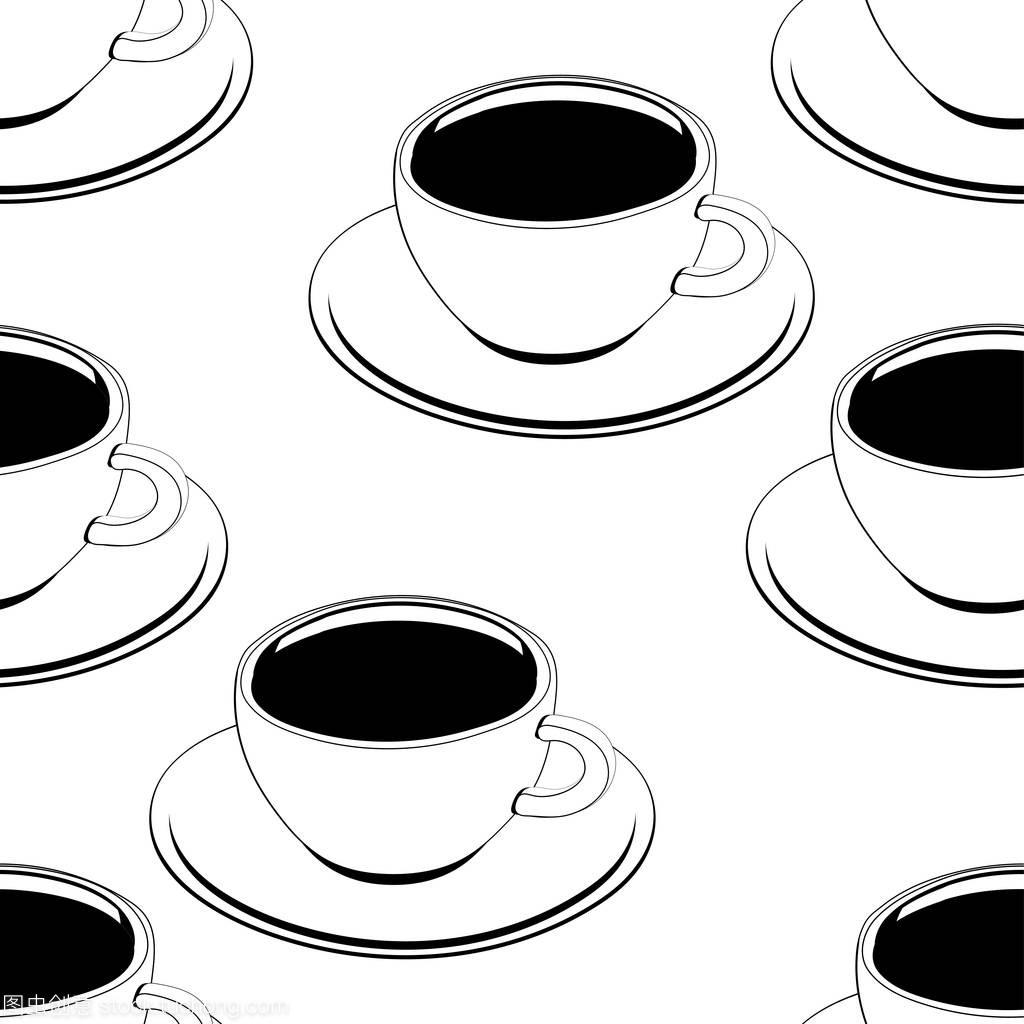 咖啡杯电话无缝轮廓,图案素描,着色,背景,矢量常州市第二建筑设计院轮廓图片