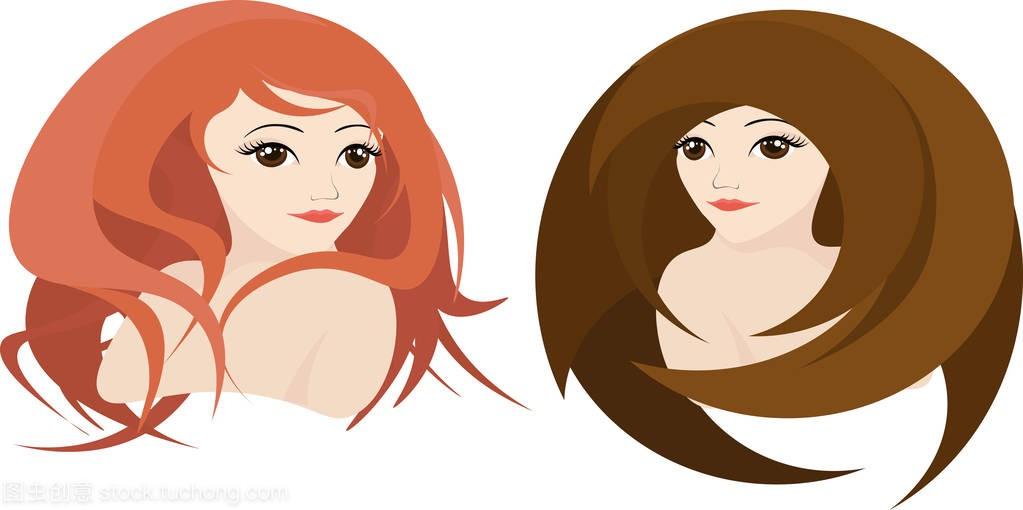 女孩与红色卷曲的头发和女孩与女生平直的头发骆驼操褐色版图片