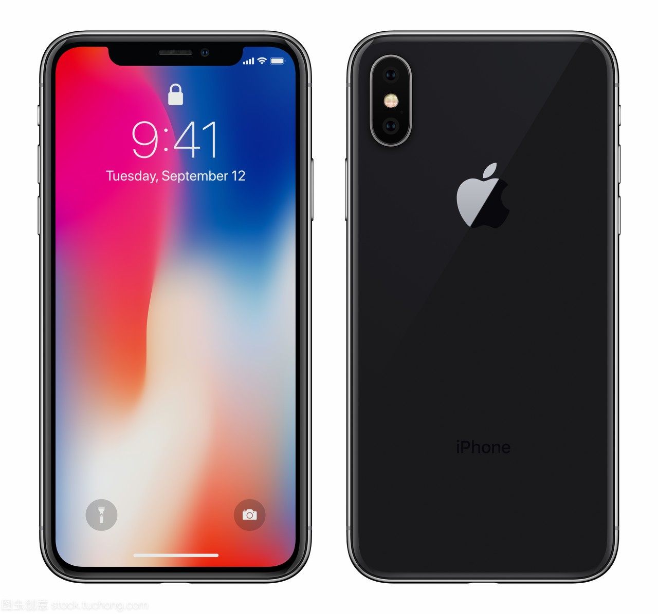 x 与 ios 11 锁屏界面前侧和背面 品牌新现实手机黑色智能手机在苹果