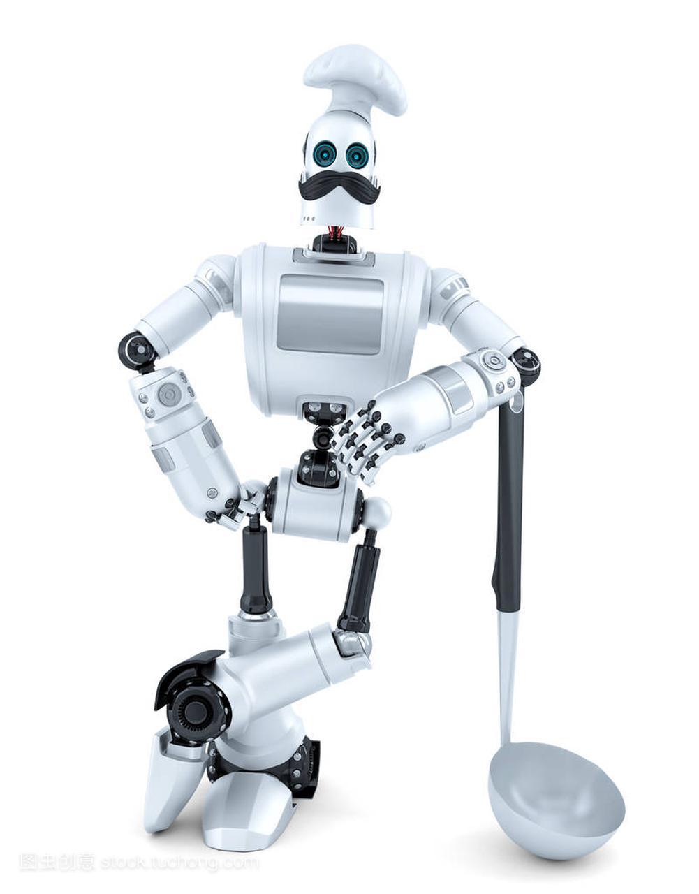机器人汤包用造型摆视频。3d插图。孤立.包含侠厨师僵尸图片