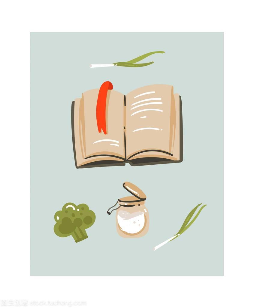 烹饪插图抽象现代卡通手绘矢量有趣的时间图标a插图美食菜谱-蔬菜图片