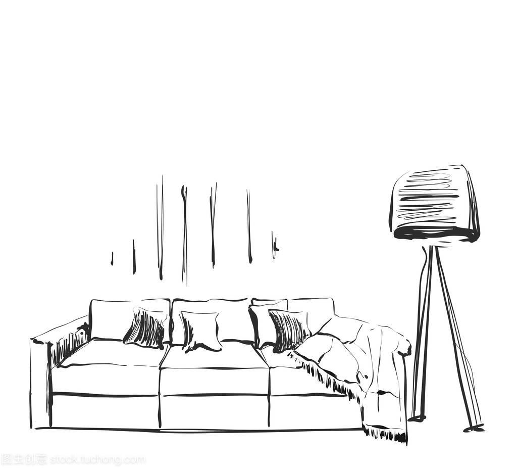 手的现代枕头室内的沙发和大量的居室、v枕头圣诞节化妆品海报设计图片