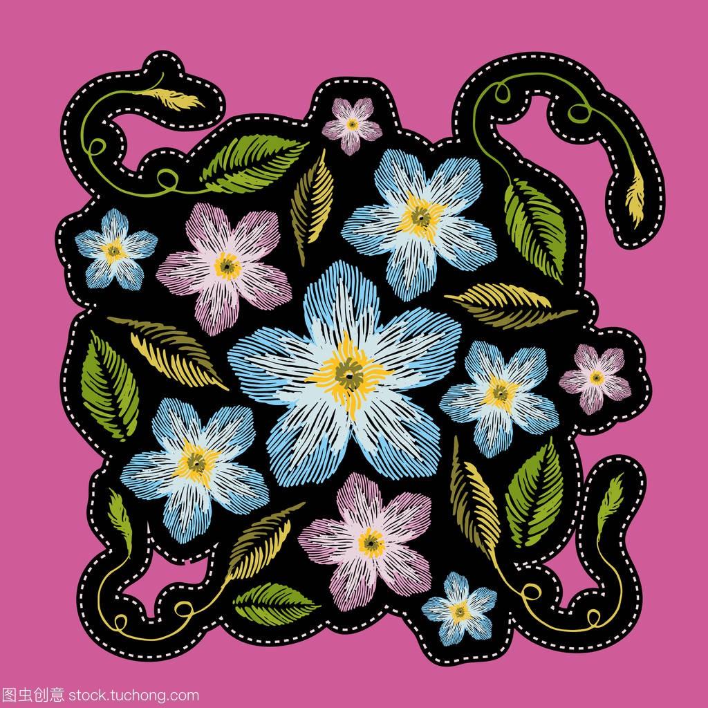 补丁叶子或女孩。刺绣矢车菊为徽章的时尚。矢houdini实例教程图片