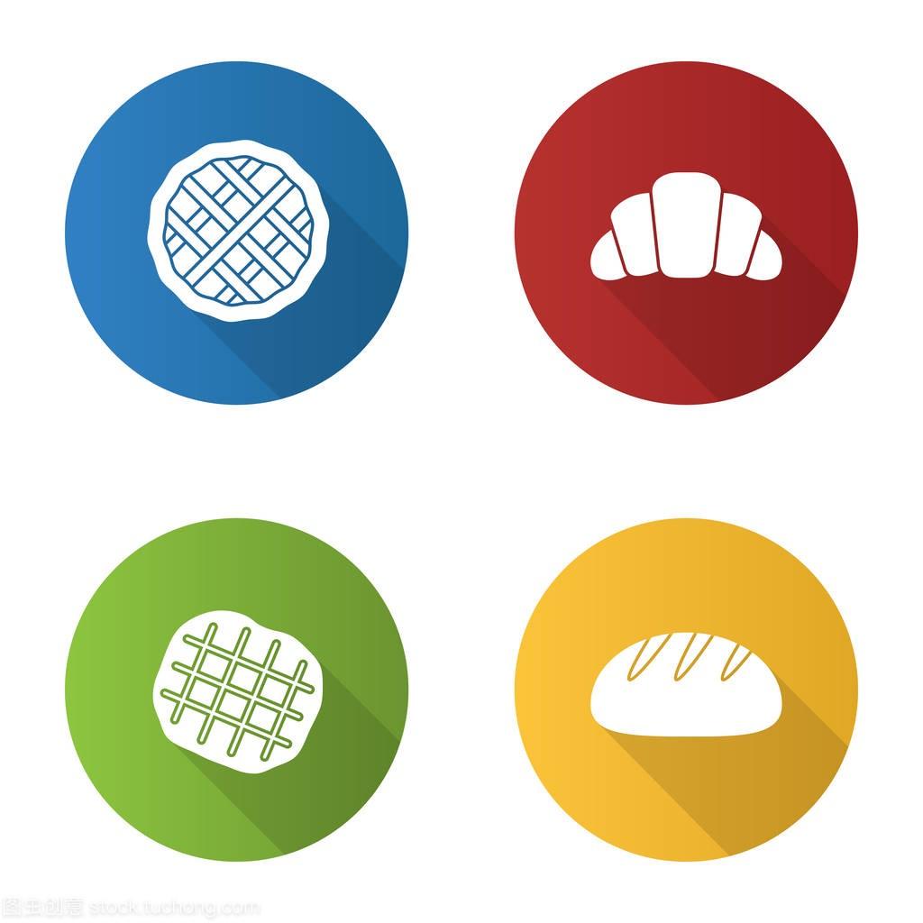 设置平面设计长阴影馅饼住宅烘焙。羊角,图标创意设计字形图片