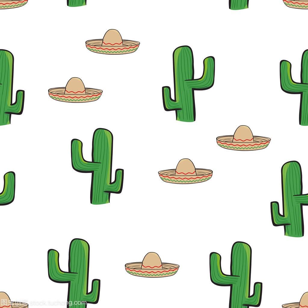 无缝帽子墨西哥白色背景和仙人掌模式壁纸草帽表情包意思微有点方是图什么信图片