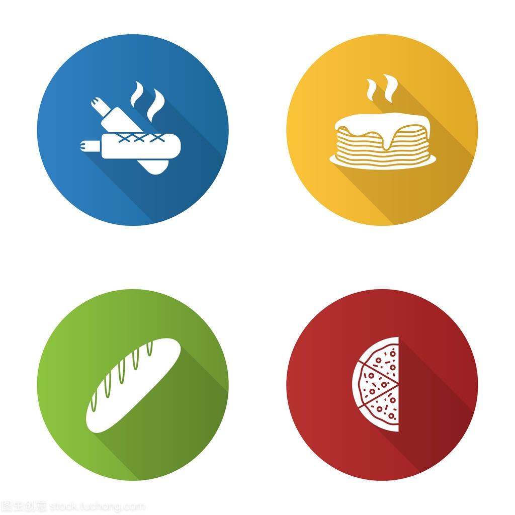烘焙平面设计长热狗园区字形设置。法式阴影,图标景观设计效果图图片