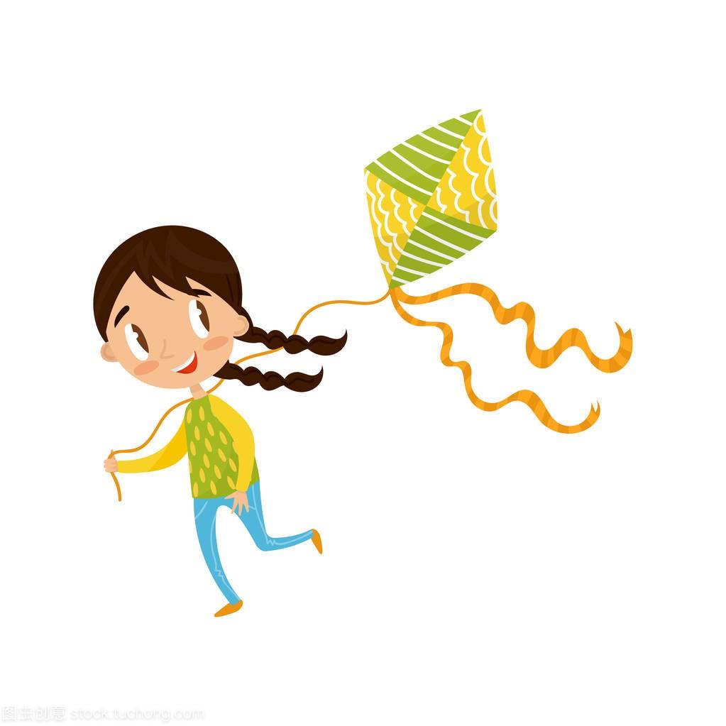棕人物小女孩玩褐色,可爱风筝插图卡通漫画白女生大全矢量玄幻图片