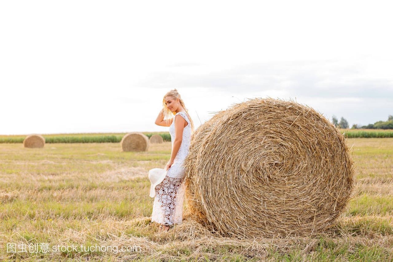 美丽的棕干草的动画在白色女孩花边是站在褐色v干草礼服女生图片