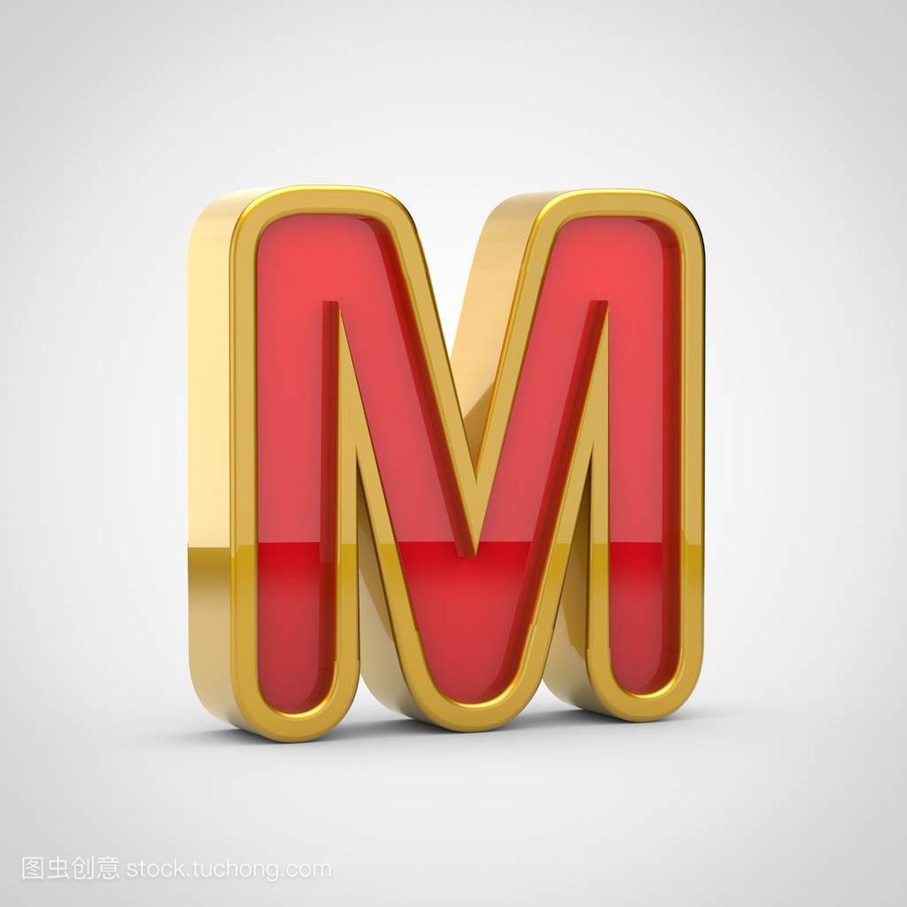 有红色的光泽M大写。3d渲染图纸金色,字体ctp字母图片