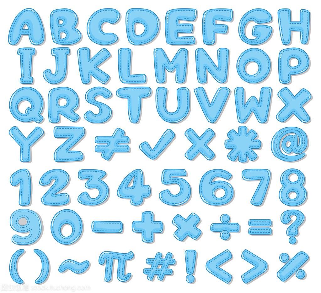 英文字体和数字在蓝色中的字母服务平面设计设计概况图片
