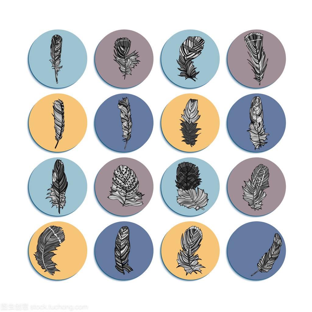 圆形羽毛标志设计平面设计师助理面试稿图片