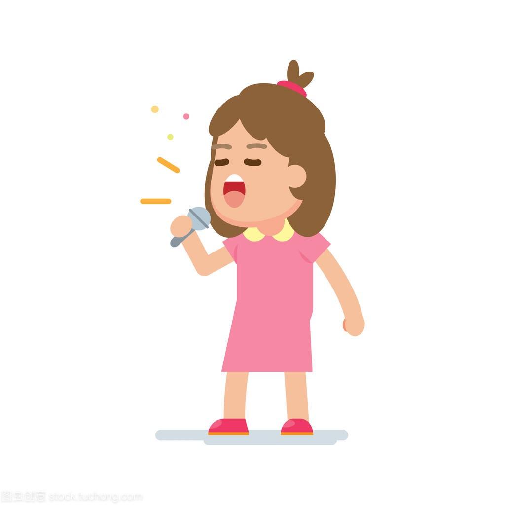 a女生可爱的女生唱一首歌,年级矢量插图大卡通六多女孩胸图片