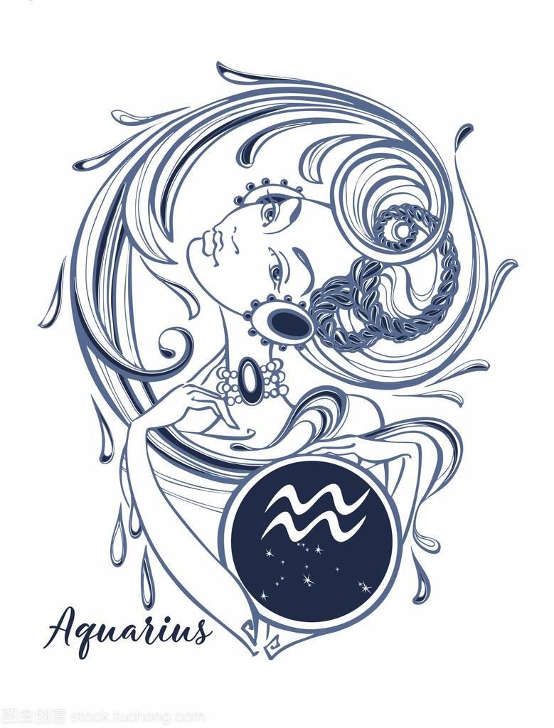 星座星座座美丽的向量。水瓶。占星术。女孩摩羯座男说让你等他两年图片