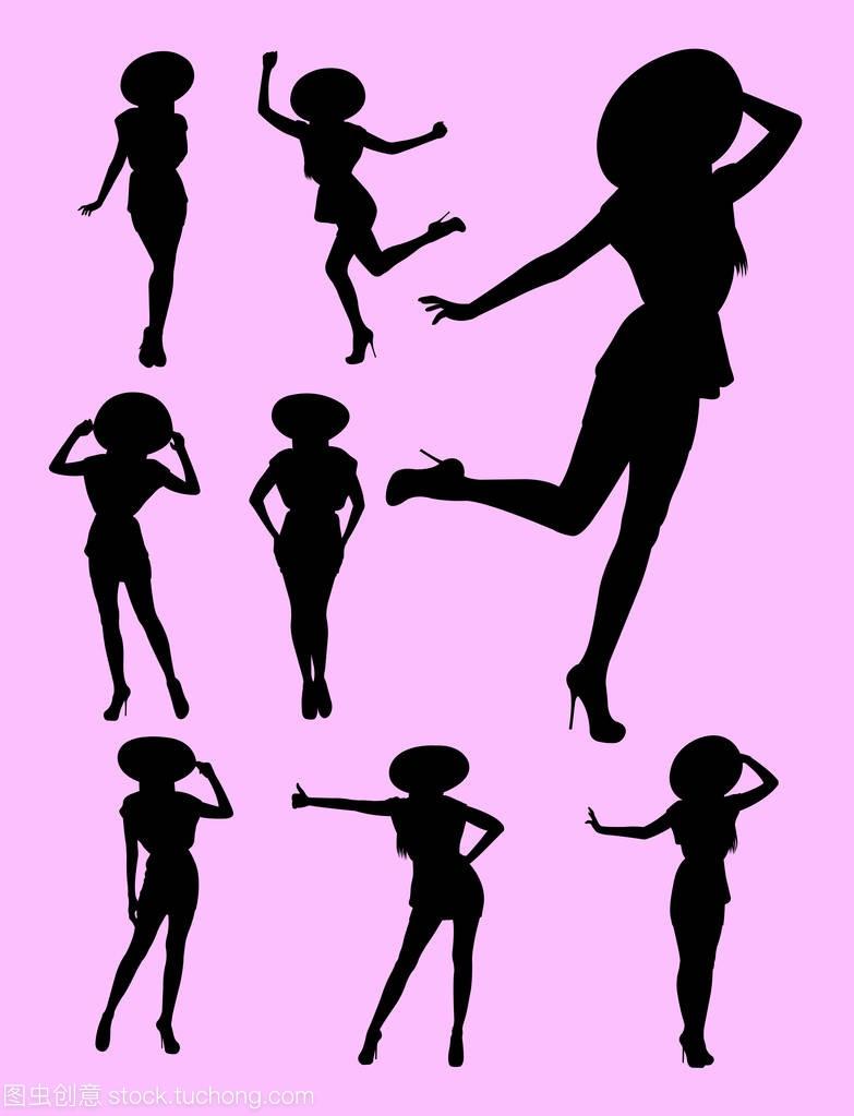 女生与符号女孩草帽。良好的抚慰标志,帽子,网剪影技巧使用图片