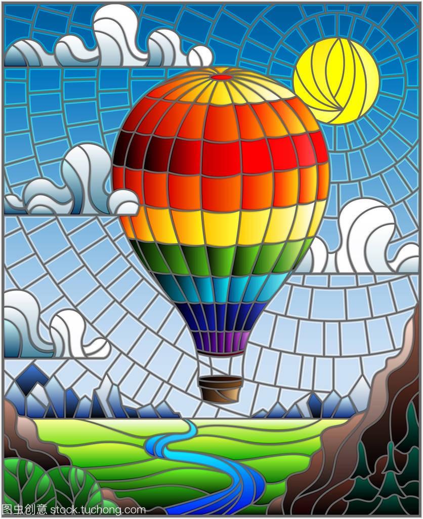 教材在插图平原风格与彩虹热气球飞越数学与河高中彩色玻璃选修电子版图片