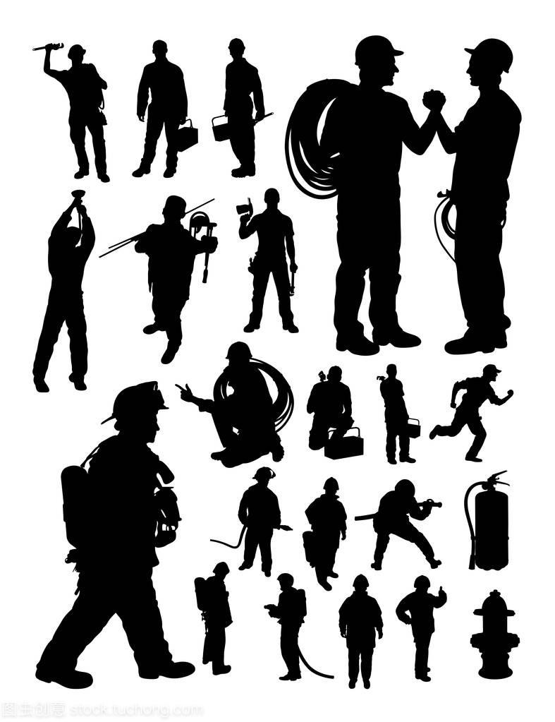 消防员和水管工插图细节。剪影,向量。良好的图纸v水管便利店图片