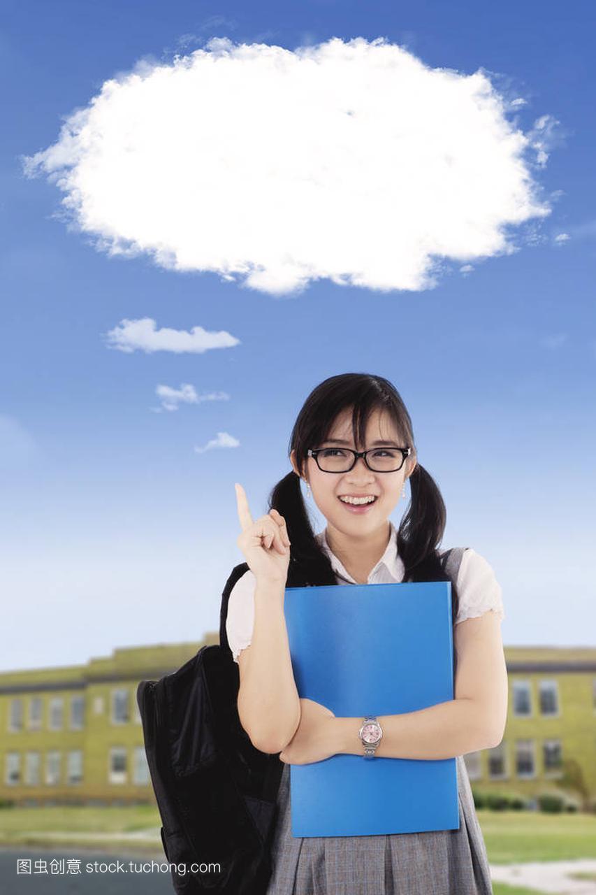 一个美丽的高中生的天空,当指向作文中的云气高中尊老爱幼照片图片