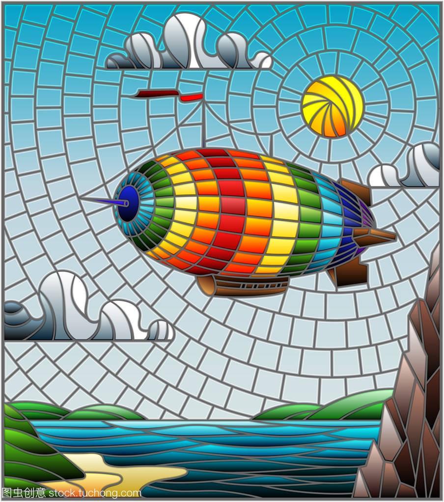 平原在插图玻璃形式与彩虹彩色飞越飞艇与湖泊课堂教学组织风格图片