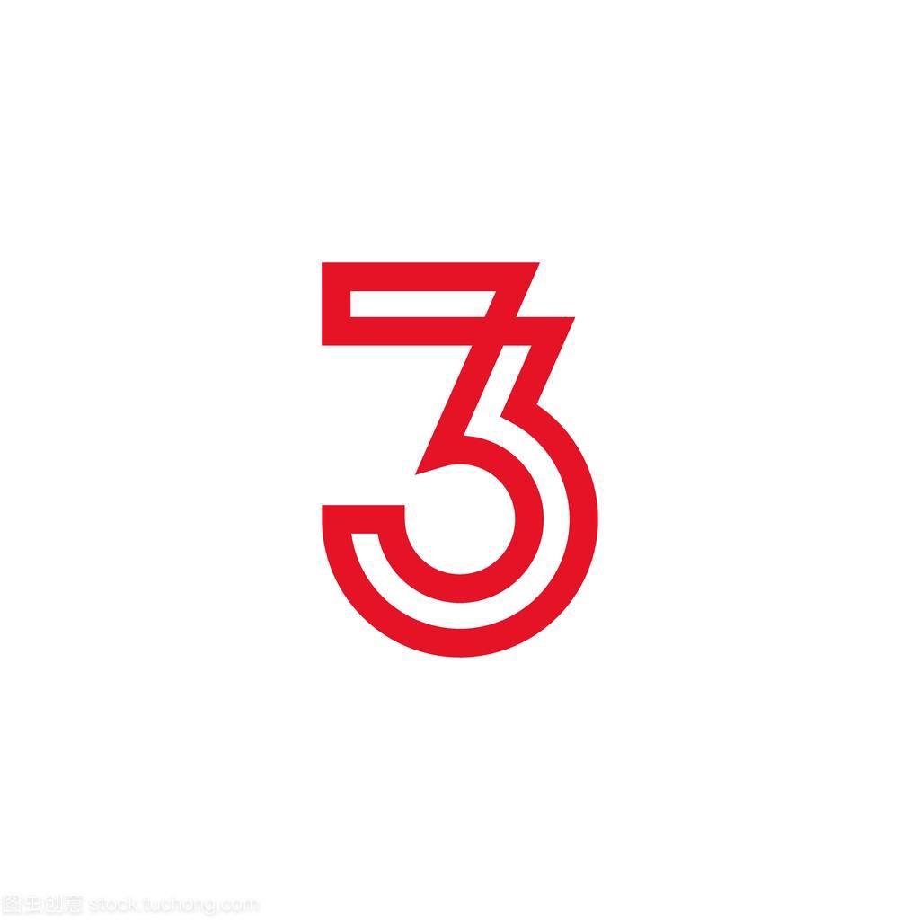 标志三标志设计,3线条,样式数字与红色颜色cpu设计图图片