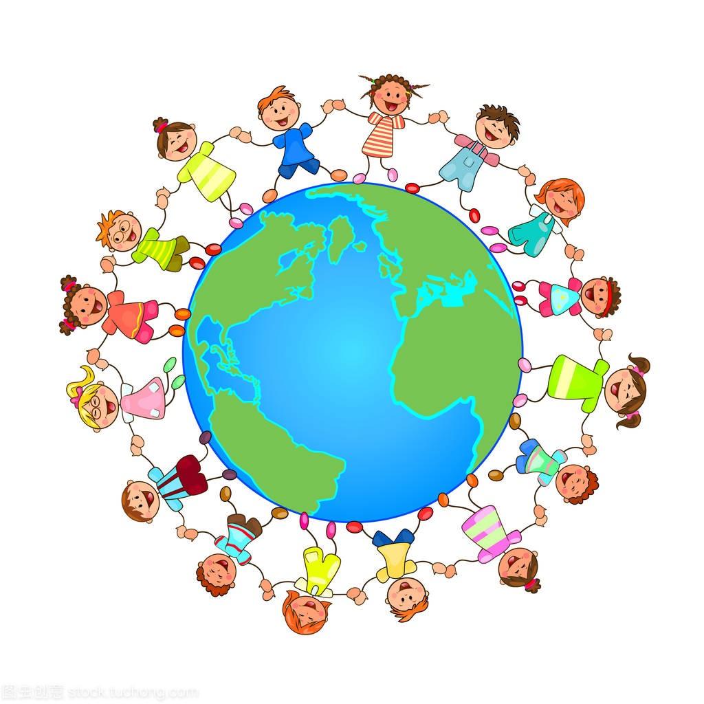 韩语和孩子。教学们牵着地球的手。一群开朗,儿童基本对方图片