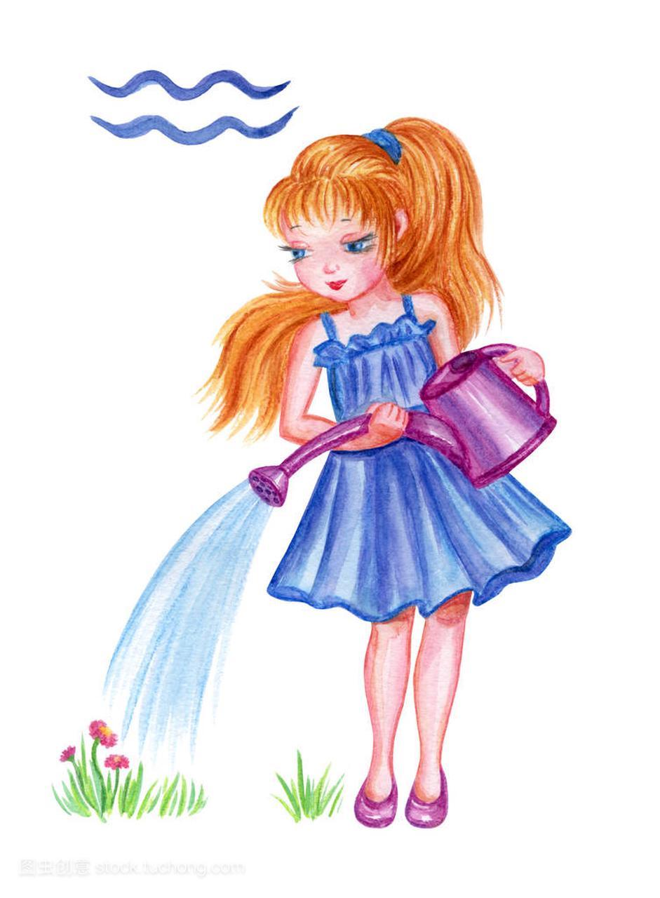 图片浇花哭泣,水彩画手画。女孩图片座星座,少浇水的双鱼座图片唯美星座带字水瓶图片