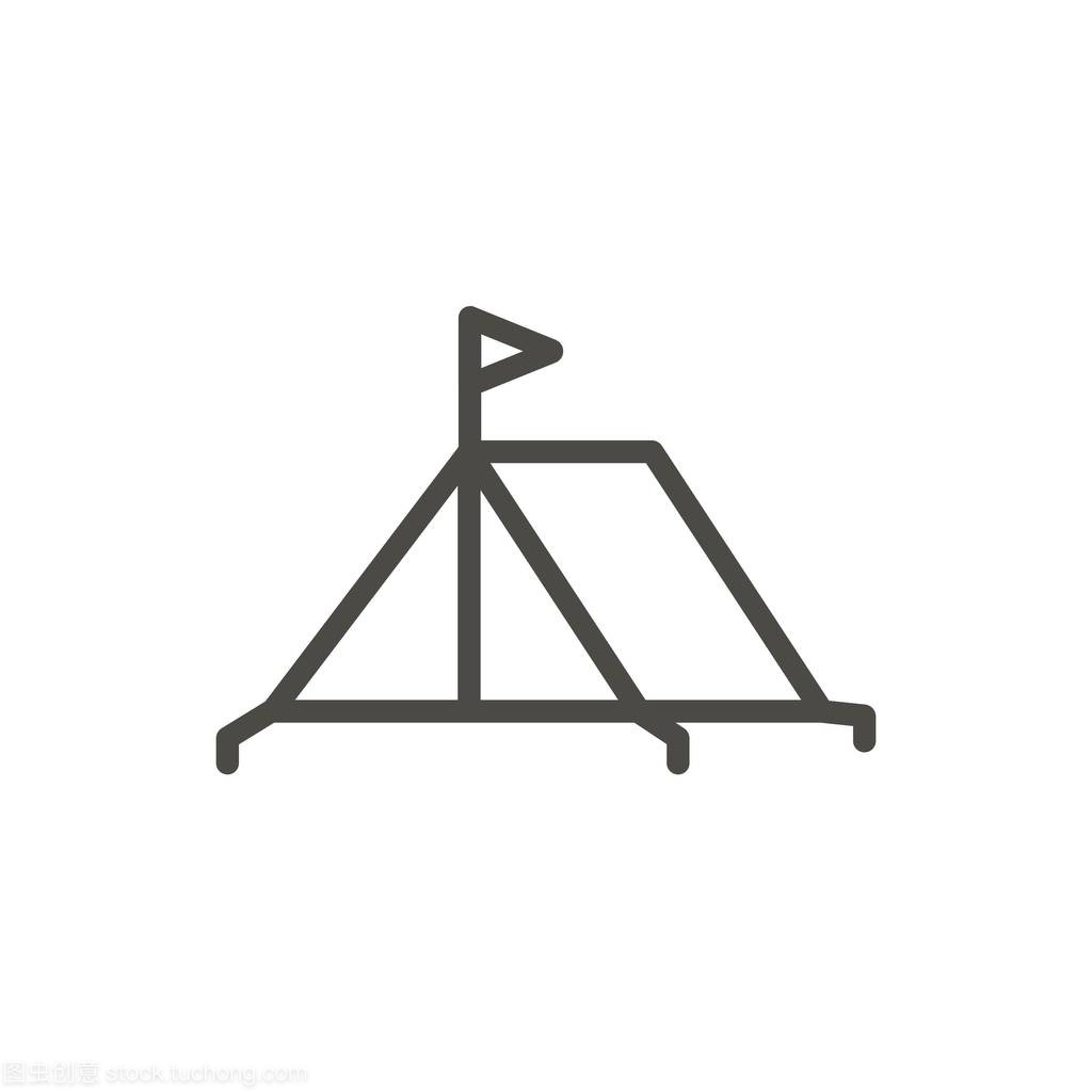 篷平面向量。线露营轮廓v平面。图标符号时尚室内设计师所需的书籍图片