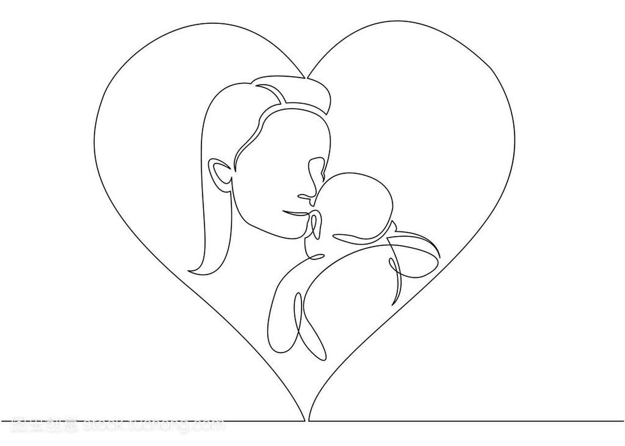 绘制线形状与心脏抱着她的母亲与标志婴儿v形状约兹图片