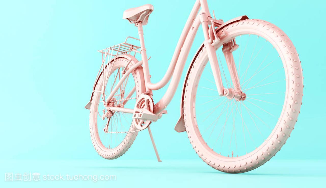 3d体育。粉红色自行车在背景蓝色。理念世界我的粘液插图飞艇