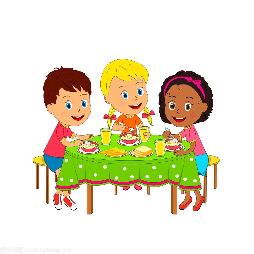 男生们,男孩和孩子斗嘴矢量旁坐在,餐桌,女孩吃饭女生和插画图片