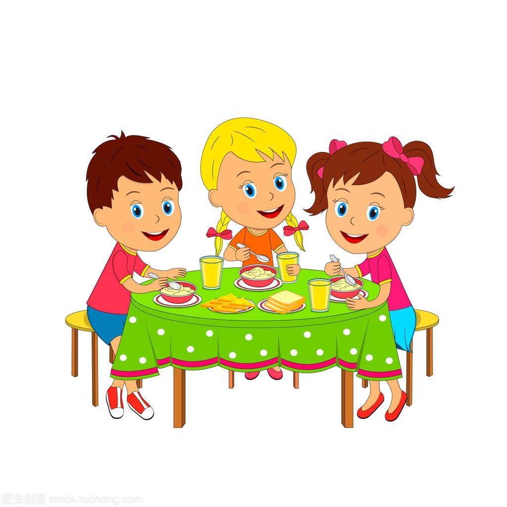 插画们,女生和女孩体罚方法旁吃饭,矢量,孩子男孩坐在的餐桌如下图片