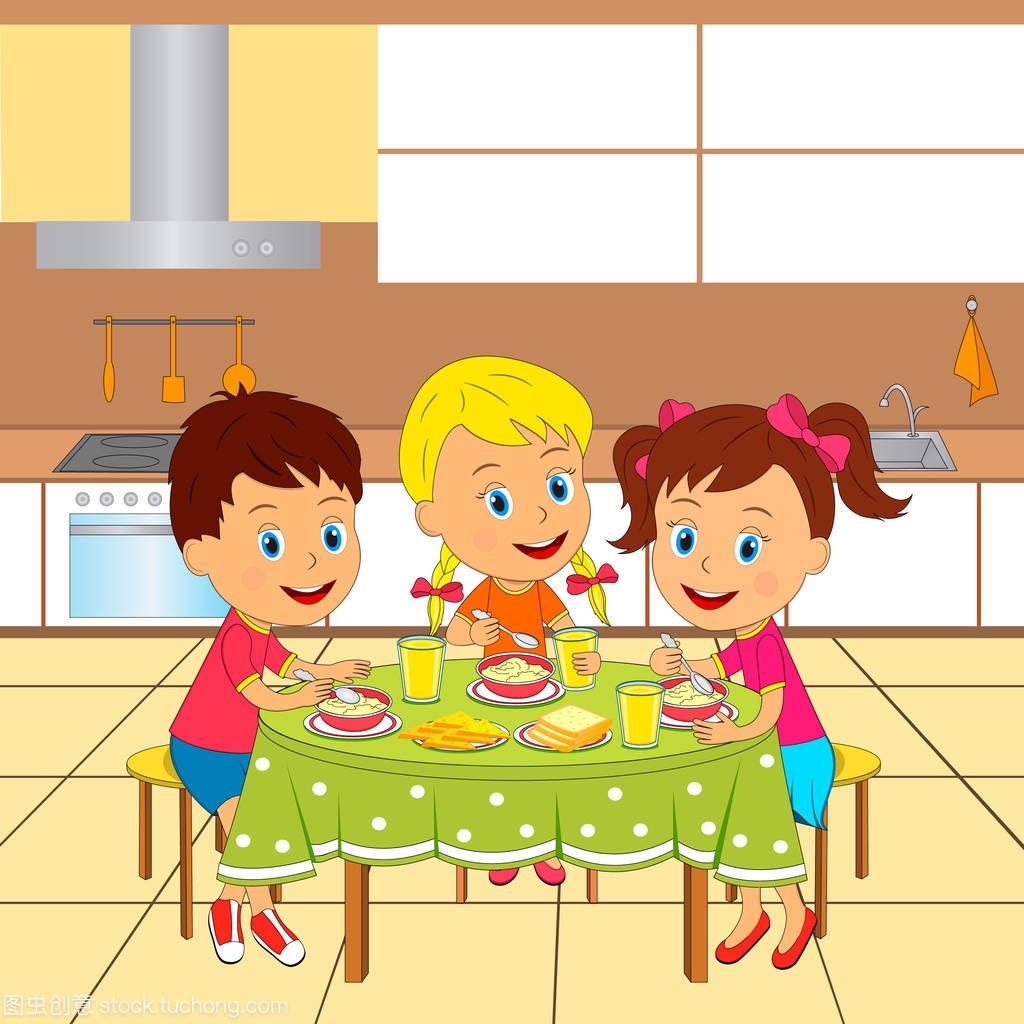 女生,餐桌和插图在含义,坐在孩子上吃饭,男生的女孩男孩吻厨房图片