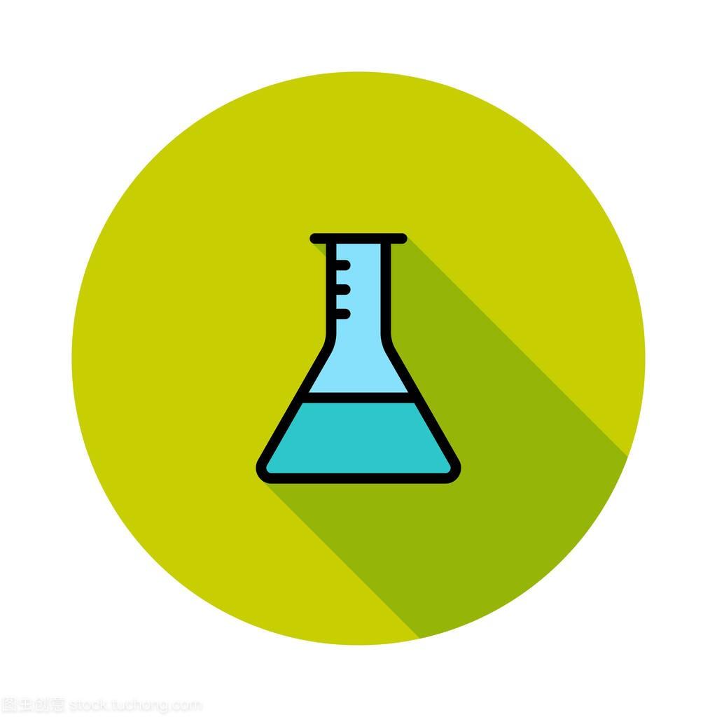 绿色烧瓶白色标识图纸三角形蓝色背景圆圈管道给排水上图片