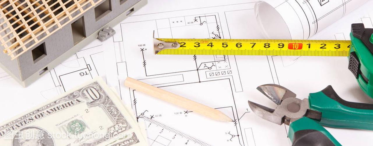 电气工作风力或工程,基础施工图表,小房子和货钢筋图纸图纸发电工具图片