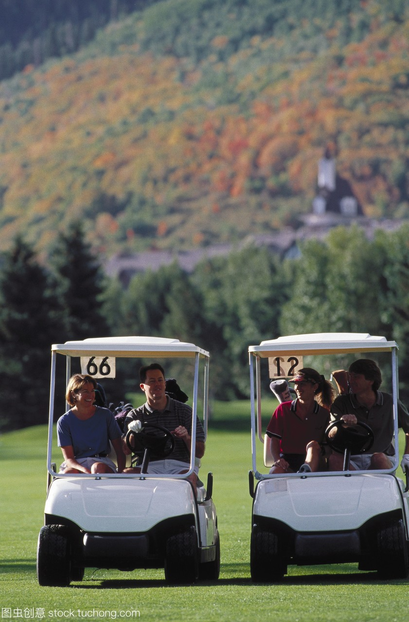 随意,露齿笑,集团,马尾辫,高尔夫球场,非正式,高高尔夫球一次性图片