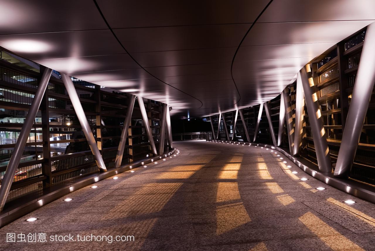 暗,桥梁,橙色,构造,灯,桔子,图纸,晚上,路面,现代橘子曲线v桥梁图片