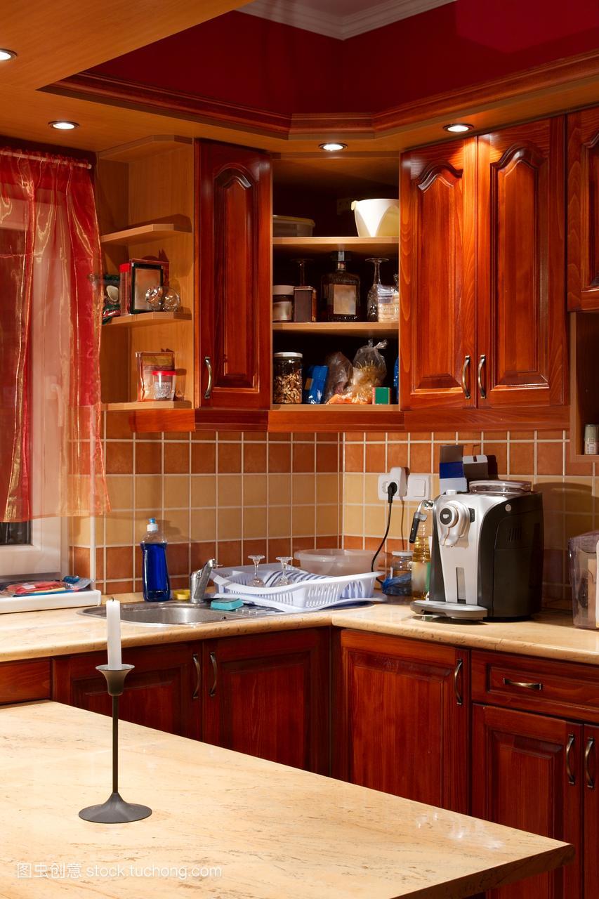 红色橱,真,细节,红,真实,视图,碗碟,装备,碗橱,设湖北西餐厅装修设计图片
