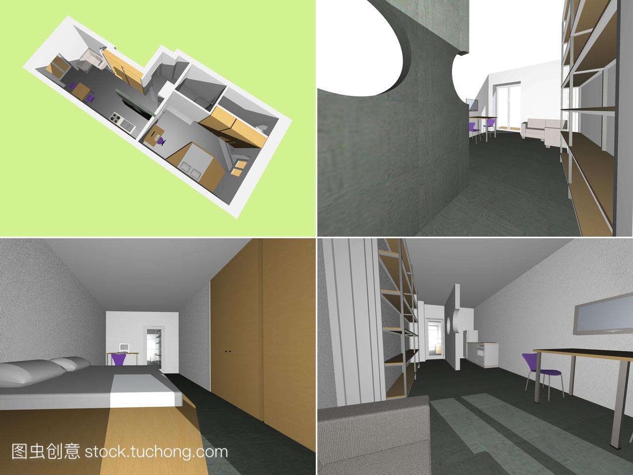 内部,家具,内阁,图纸,人体模特,办公椅,虚线,图纸台子厨房中和实线暖通图片