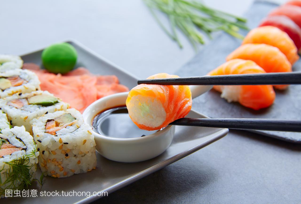亚洲,三文鱼,开胃菜,美食,卷,加利福尼亚,饮食,减为什么南方人腿瘦图片