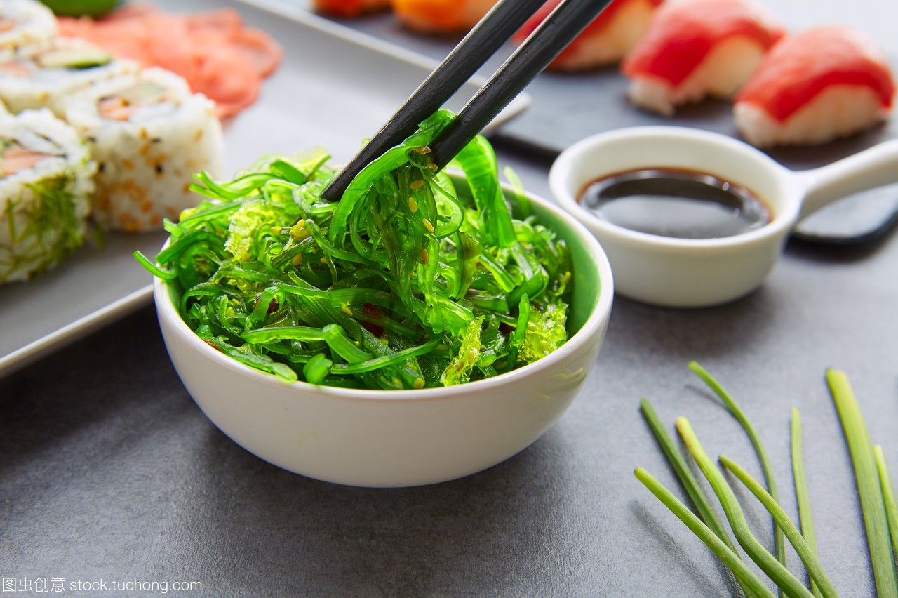 开胃菜,海产,生鱼片,对白,三文鱼,亚洲,酱,沙拉,海开场减肥产品推销黑色图片