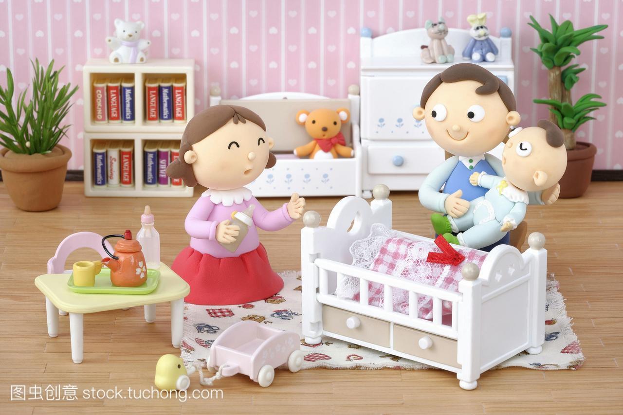 漫画女人,婴儿游戏,家庭,插图,数码,人,房屋,漫画行尸走肉合成与儿童图片