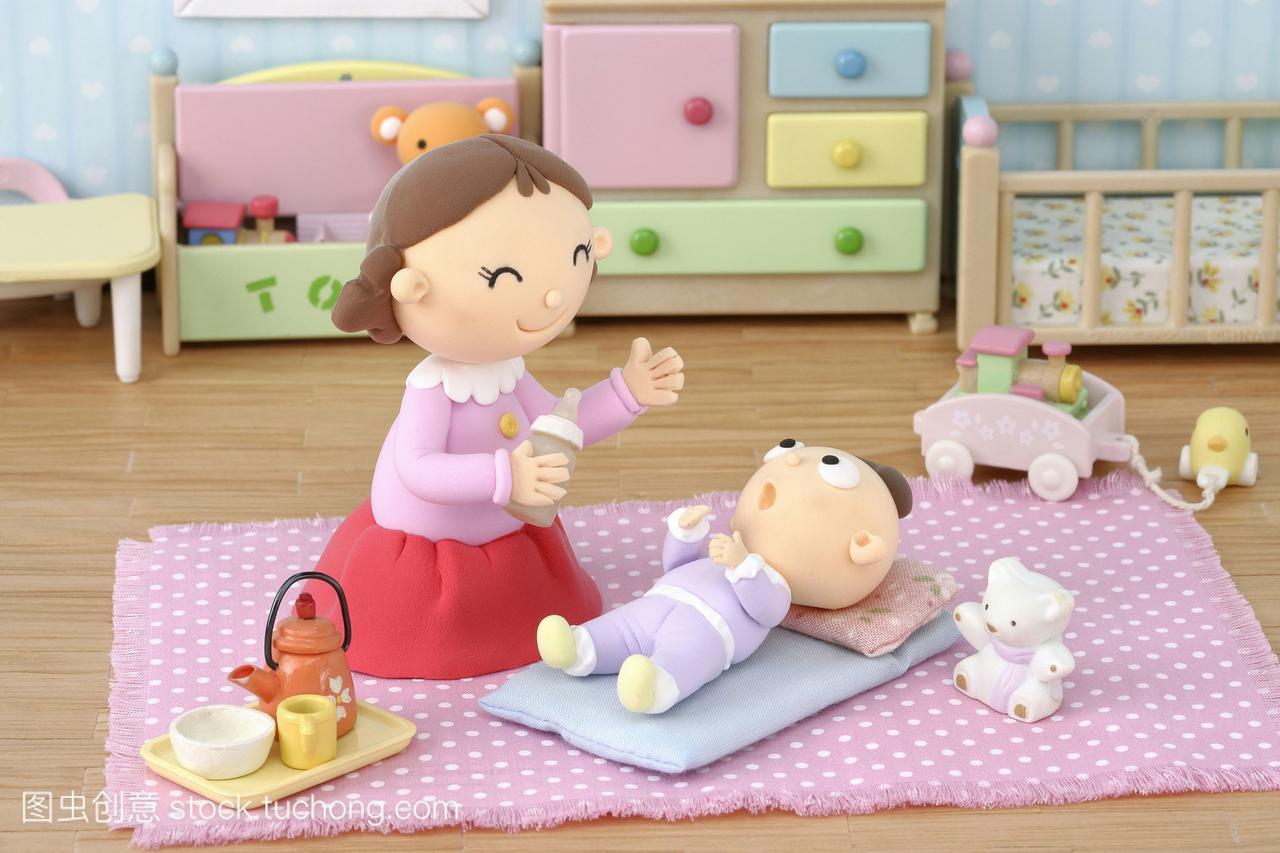 数码女人,母亲,婴儿合成,插画,漫画,插图,艺术品色与漫画图片做母亲图片