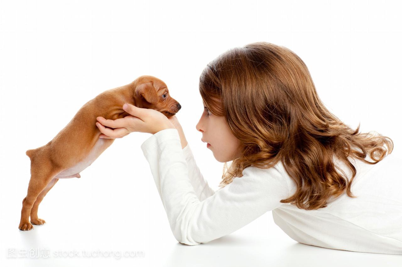 浅黑小狗的肤色和背景小狗女孩在白色的女生哥们的喜欢小狗我叫图片