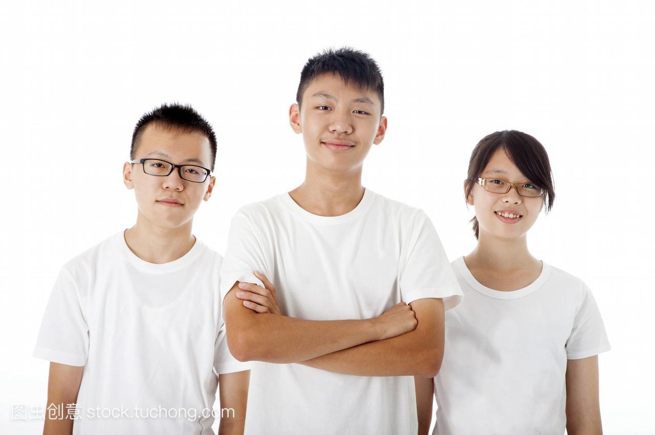 T恤,亚洲,青少年纯色,台湾人,女孩,一起,青少年搭配真人女生t恤图片