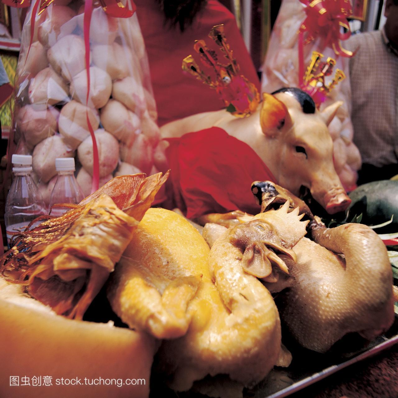 无人,五牲,祭祀,鸡肉,祭品,猪肉,文化,祭拜,传统,免烫高档衬衫面料图片